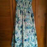 Summer Dress in pink and blue floral fabric with smock top