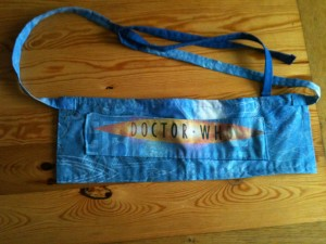 blue tool belt with dr who text