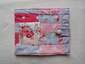 ipad sleeve using Cath Kidson and Laura Ashley fabric so pink blue and white
