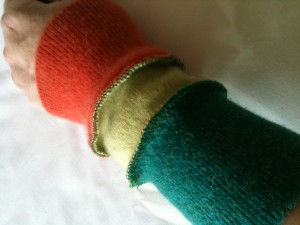 Arm wearers from upcycled jumper cuffs!