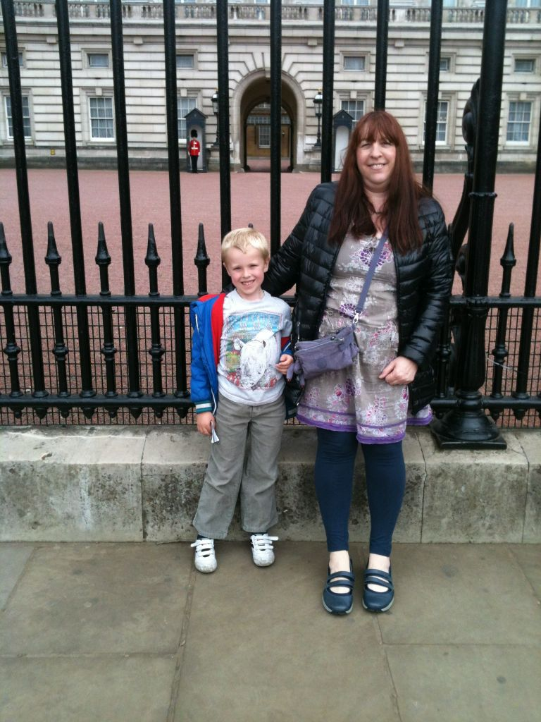 Granny and Max outside Buckingham Palace