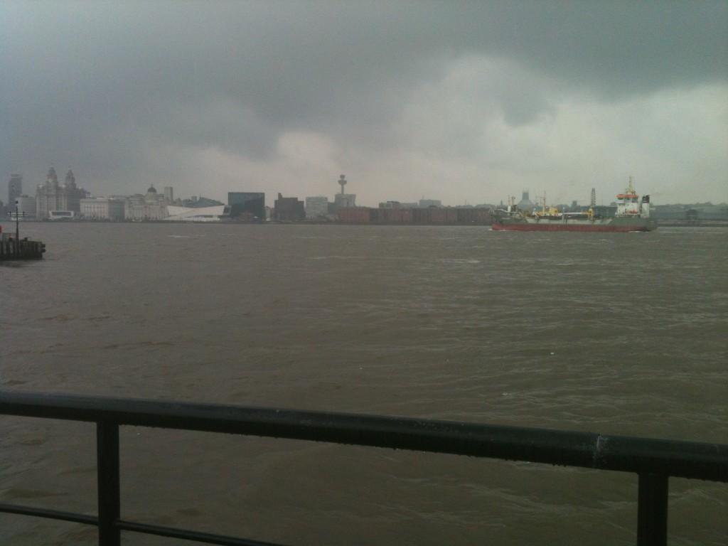 River Mersey and Liverpool skyline on a rainy day