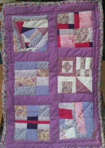 pinky purply patchwork quilt