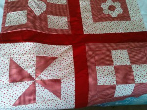 red and cream patchwork squares