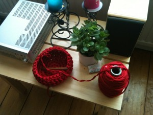 red crochet bowl