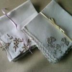 Vintage Embroidered napkins in white with brown thread