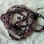purple beads on lace