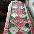 Table Runner in Red, Cream and Green Scandi Fabrics