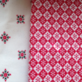 red and white cotton xmas type scandi fabric