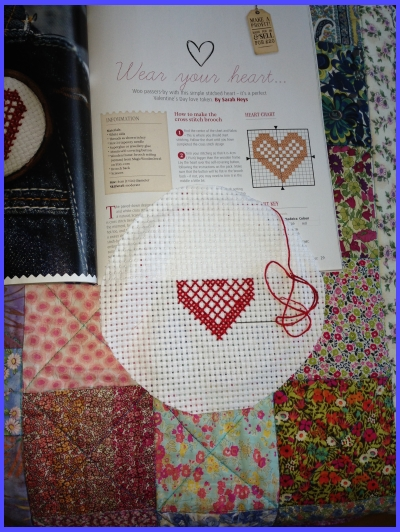 crosstitch heart in red thread