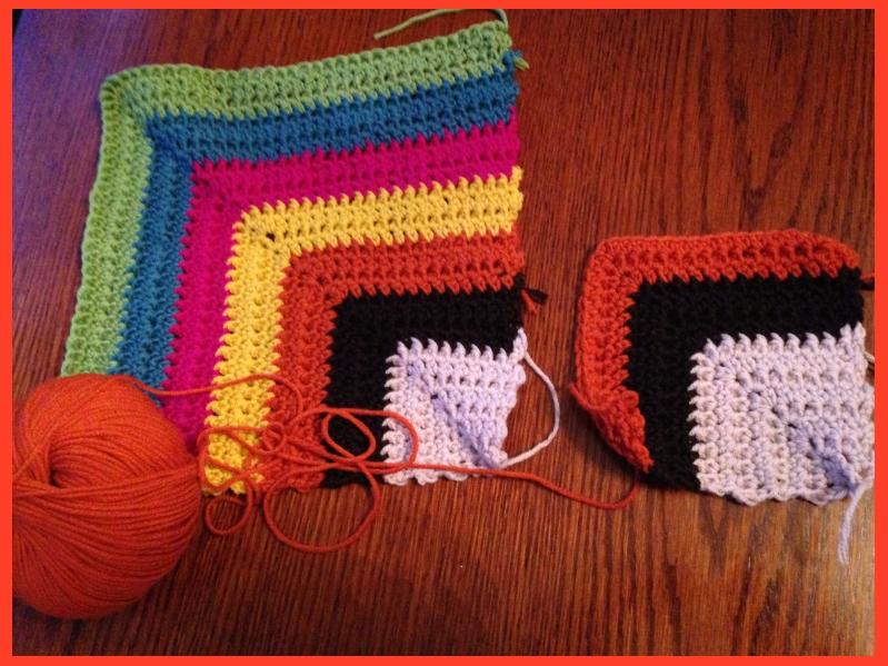 Mitred suares wool crochet blanket