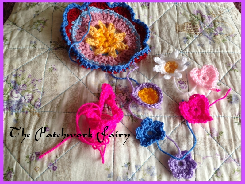 little crochet hearts and flowers using Attic 24 patterns
