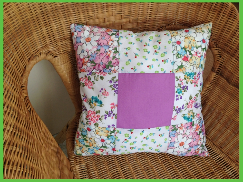 cotton floral patchwork cushion
