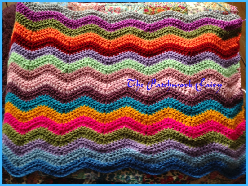 Multi-coloured riple blanket from a pattern by Attic 24