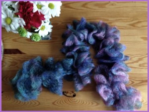 Purple and pink mohair and silk crochetd scarf.