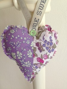 hanging hearts in Liberty tana lawn fabric