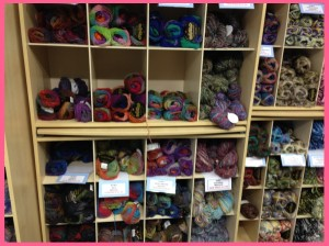 Noro wools on shelves