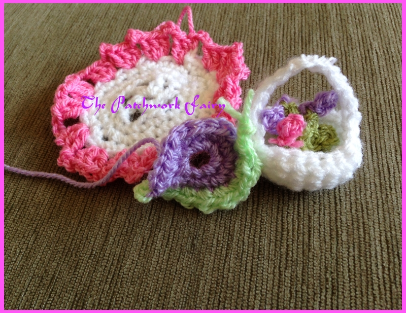 crochet snail and crochet flower basket