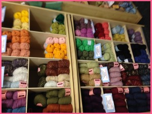 different yarns on shelves