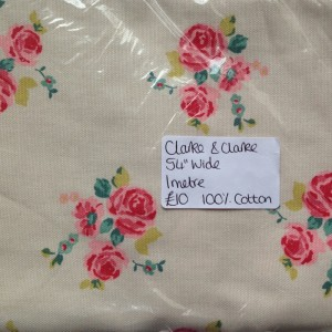Linen colour fabric with vintage rose pattern by Clarke and Clarke