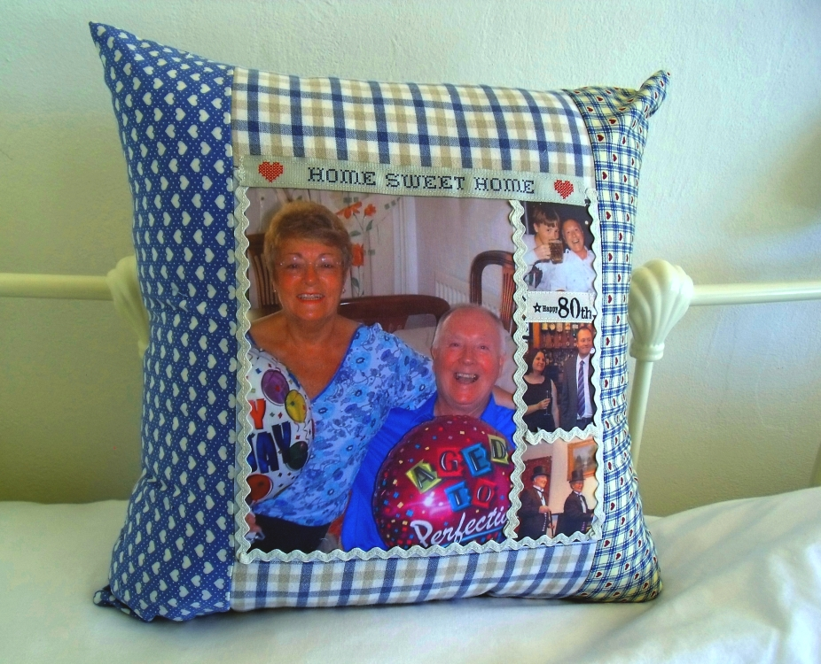 patchwork photo cushion