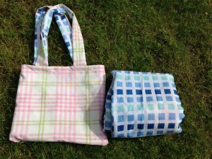 folded picnic mat showing waterproof backing