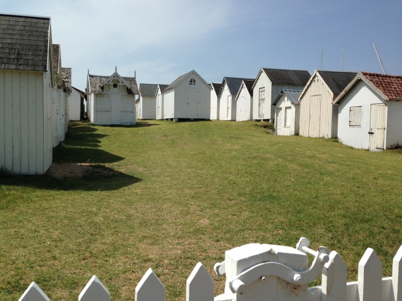 White wooden French Beach Huts