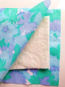 floral fabric and cotton wadding
