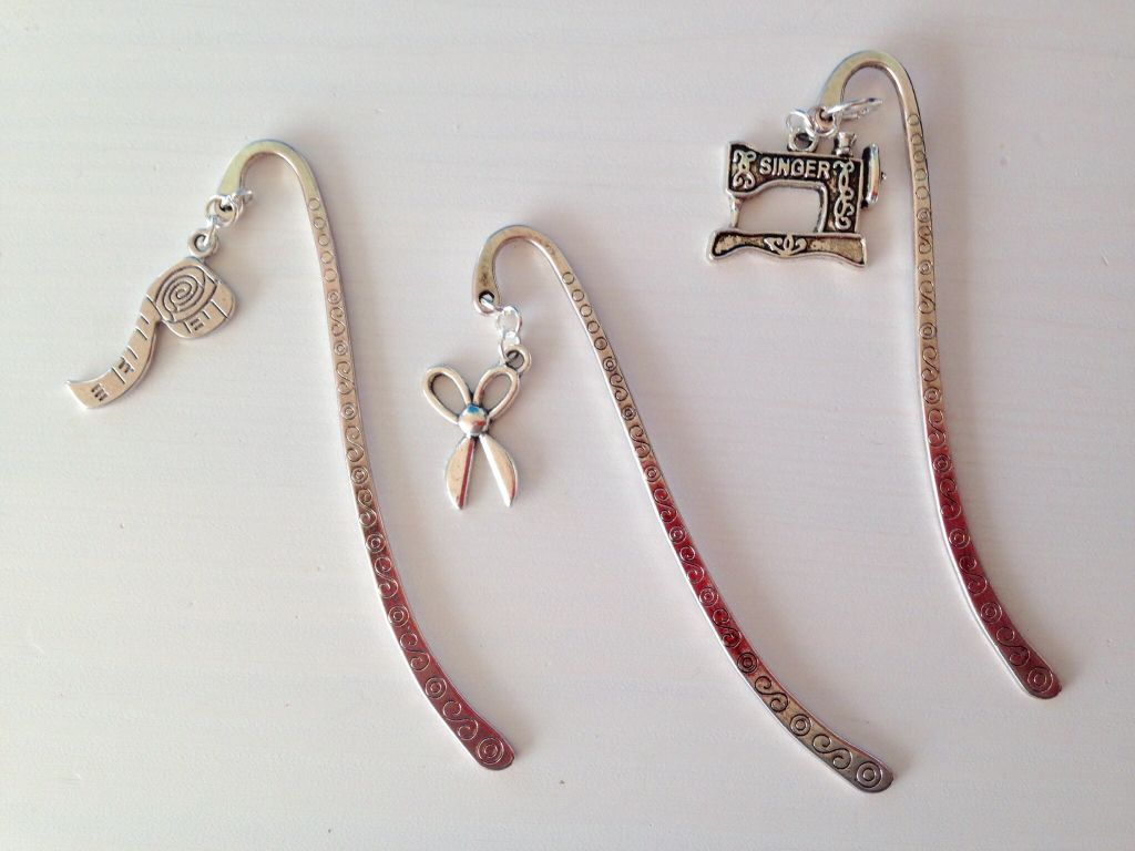 Bookmarks with sewing charms