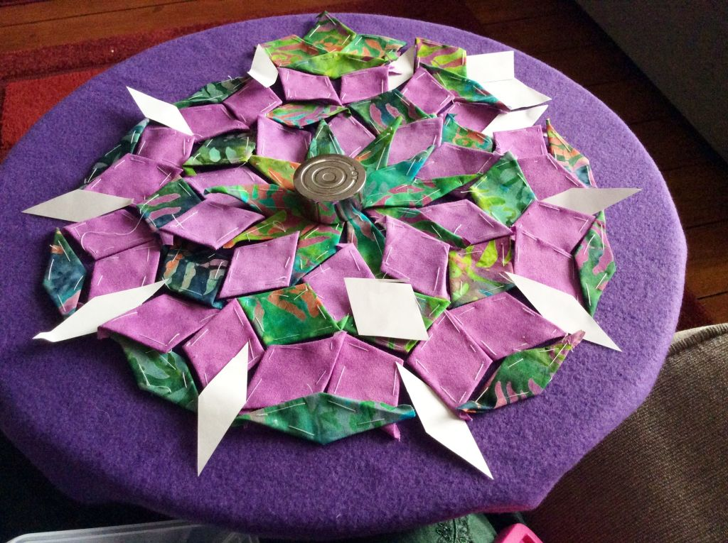 fabric and paper diamond shapes