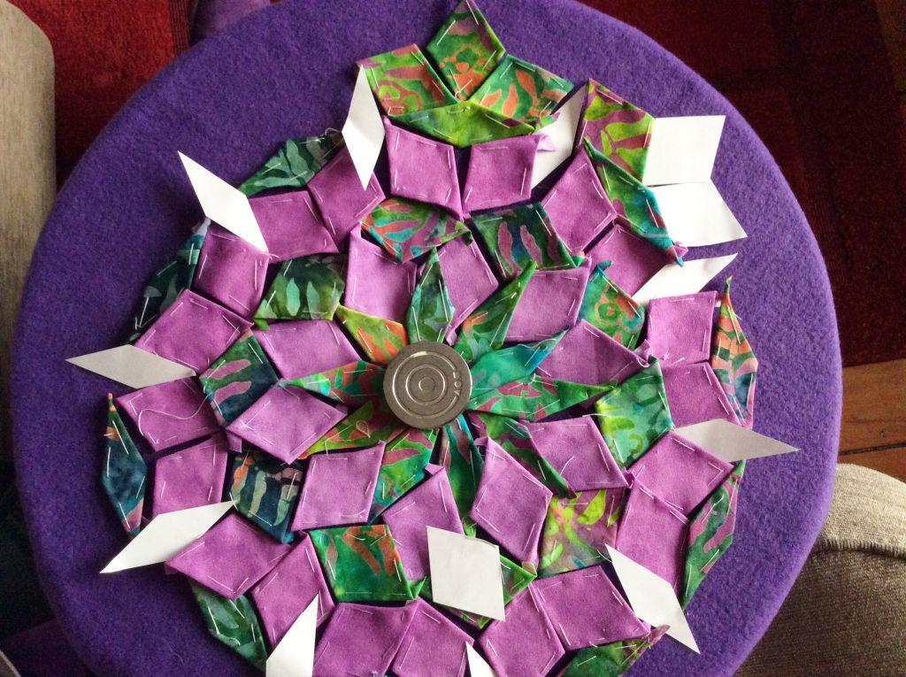 purple and green fabric diamnonds