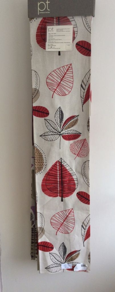 cream,red, fabric with leaves on