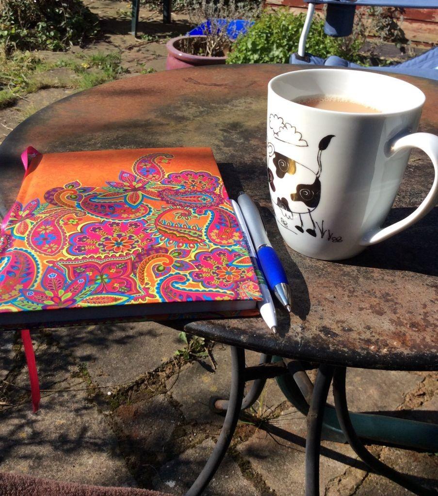 Garden scene with cup of tea