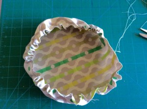 Fabric bowl being made