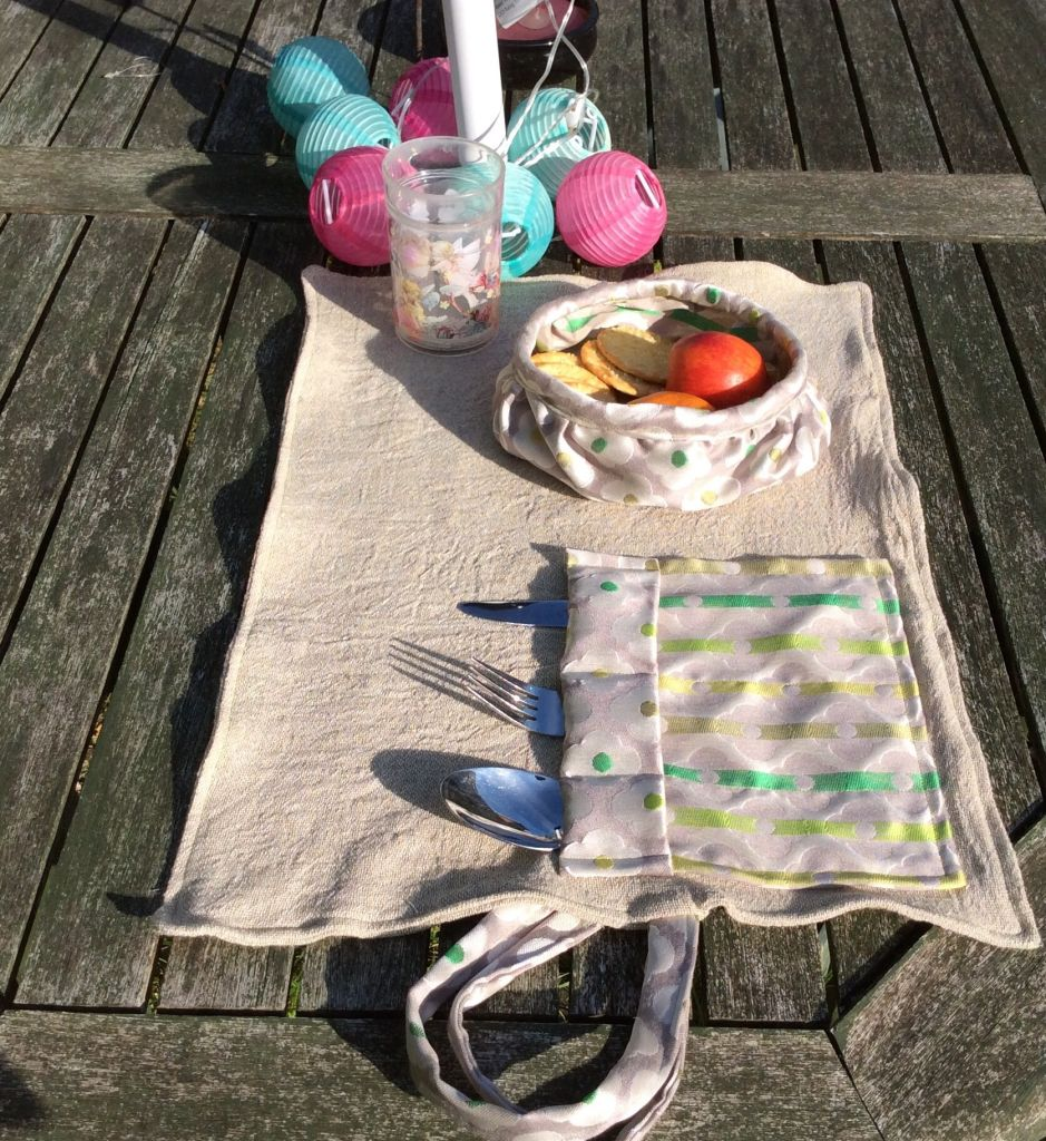Picnic mat on table
