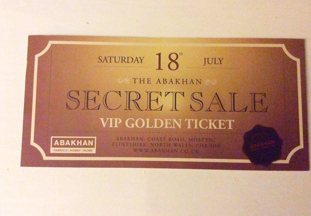 Abakhan Sale ticket golden coloured