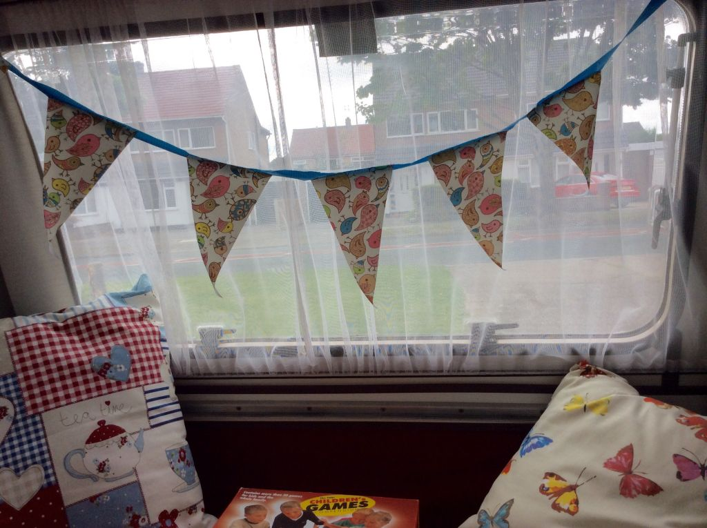 Bunting in caravan window