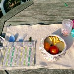 picnic hessian mat with food bowl and cutlery holder