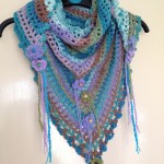 turqouise crochet scarf