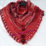 red wool crochet scarf
