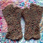 brown wool fingerless gloves