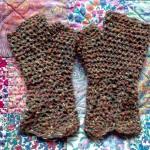 brown wool fingerless gloves