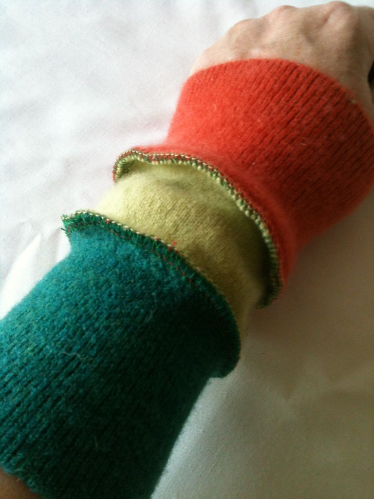 arm warmers in green, lime and orange felted wool