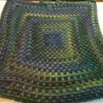 Purple and Green large Granny Square Blanket