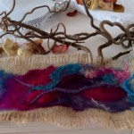 Wool Felt and Silk Arm Cuff in purple and pink