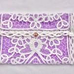 white lace bridal purse