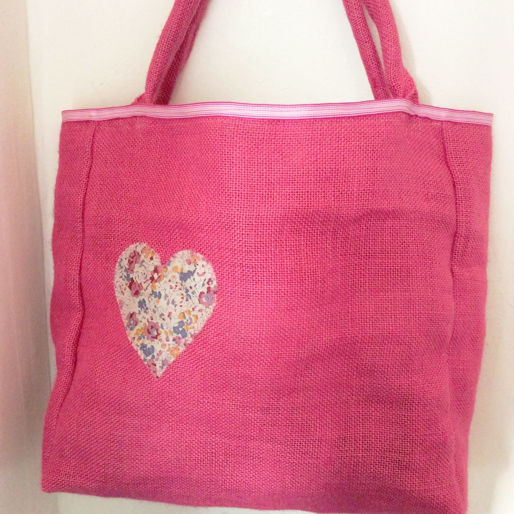 Pink hessian bag
