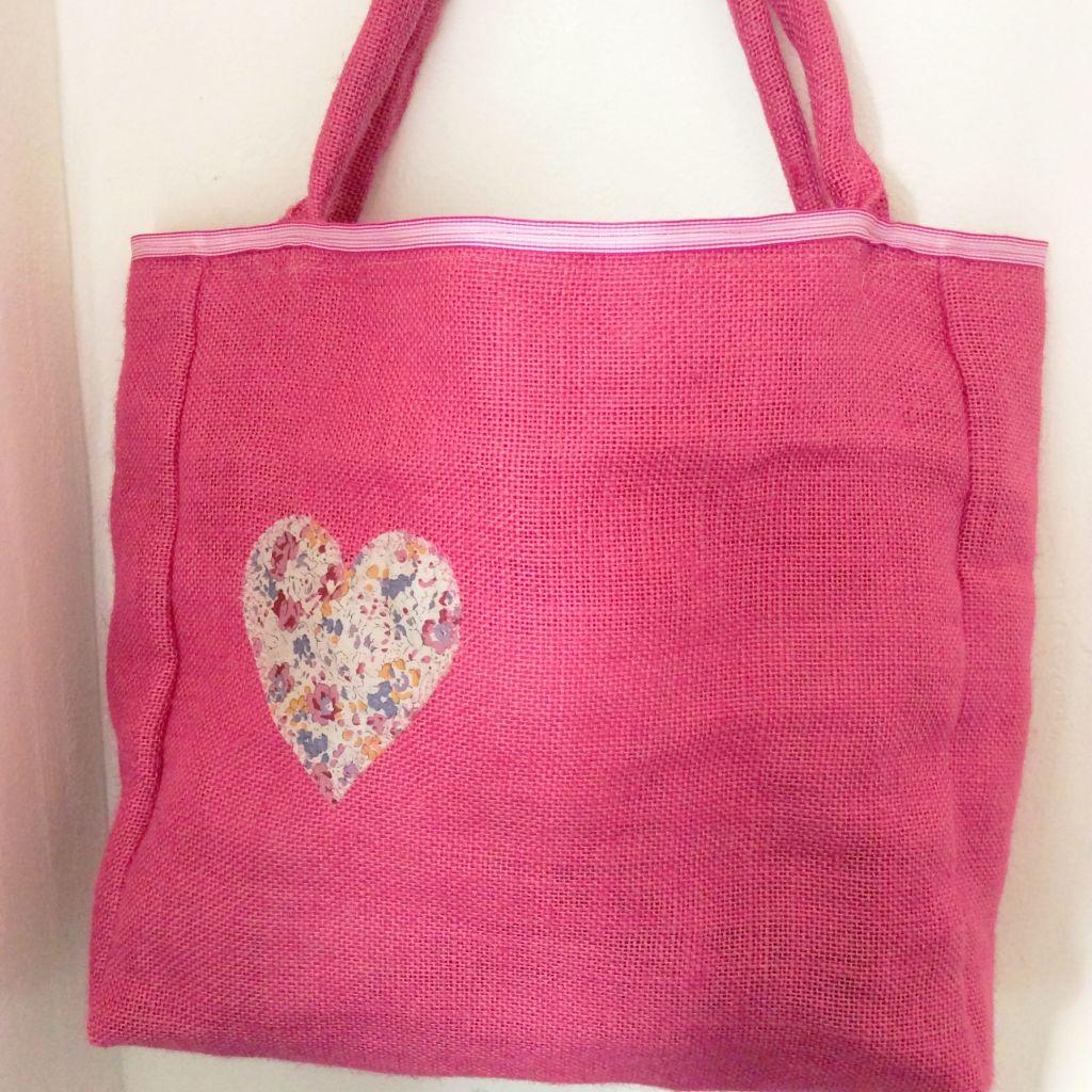 Pink hessian bag