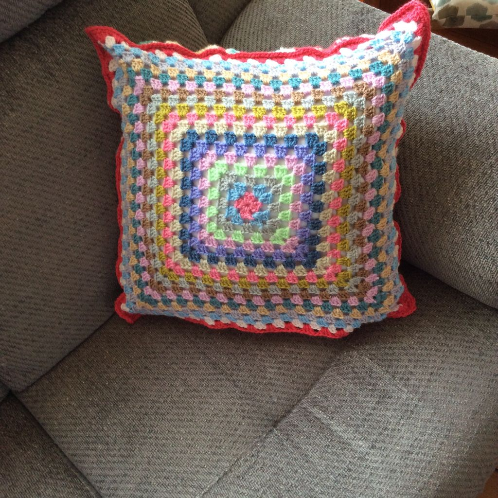 Crochet cushion large granny squares