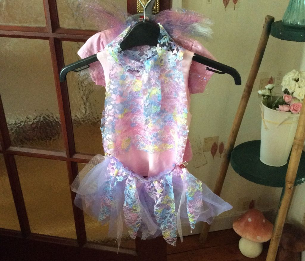 Baby girl's fairy dress in pink, blue and lemon lace.